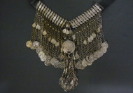 Tribal Belly Dance Gunmetal Coin Necklace with Round Medallion