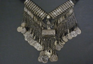 Tribal Belly Dance Gunmetal Coin Necklace with Cylindrical Medallion