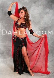 ENCHANTED ROSE in Black and Red by Designer Hoda Zaki, Egyptian Belly Dance Costume Available for Custom Order