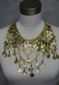 Double Egyptian Coin Pyramid, with Beaded Swag, Necklace or Drape