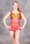 Red sleeveless body stocking