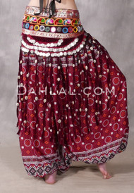 Coin and Cowry Tribal Belly Dance Belt in Wine