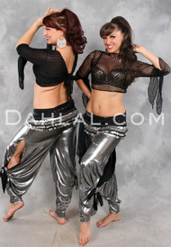 Metallic belly dance pants with side slits