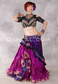 RAISED HEM GRADIENT SARI SKIRT - Several Colors In Recycled Sari Fabrics, for Belly Dance