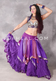 Sari Handkerchief Skirt Shown In Purple Tones Over A Tribal Essentials Skirt