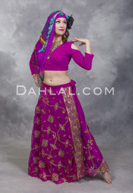 Fuchsia and Gold Embroidered Sari Wrap Skirt