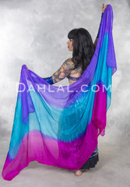 Tri-color Silk Veil for Belly Dance