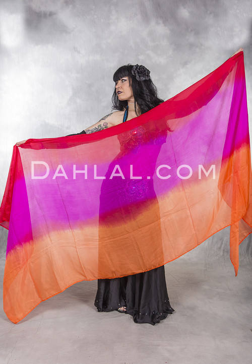 tri-color silk veil for bellydance