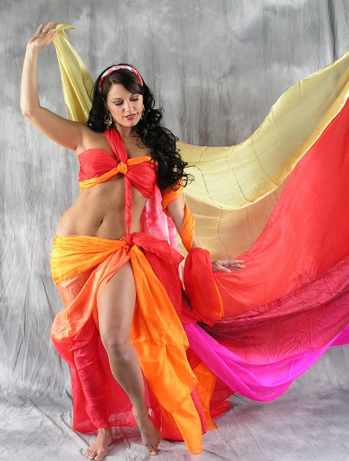 Solid Color Rectangular Silk Veil for Belly Dance image