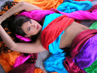 Solid Color Rectangular Silk Veil for Belly Dance - 24 Colors Available
