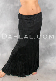 Black Matte Satin TIERED BROOMSTICK SKIRT