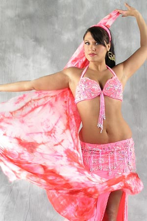 Rectangular Tie-dye Silk Veil for Belly Dance
