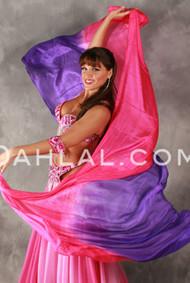 Rectangular Gradient Silk Veil for Belly Dance
