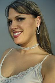 RECTANGLE DRAPE Rhinestone Necklace and Earring Set