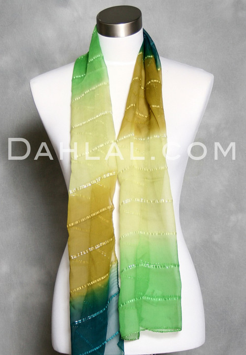Green Striped Silk Scarf