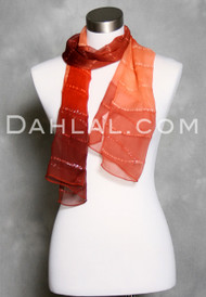 Rust Striped Silk Scarf