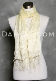 Fringed Jacquard Scarf in Cream