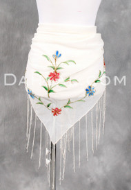 FRINGED TRIANGLE SCARF with Hand Painted Details