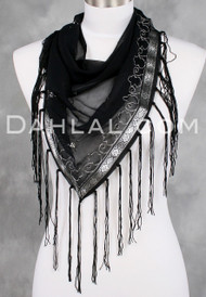 Black and Silver FRINGED TRIANGLE SCARF with Embroidered Trim and Mirrors