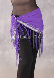 Purple and Silver FRINGED TRIANGLE SCARF with Embroidered Trim and Mirrors