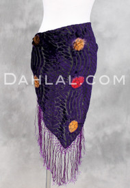 Purple Floral Wave Burnout Velvet Shawl