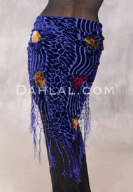 Royal Blue Floral Wave Burnout Velvet Shawl