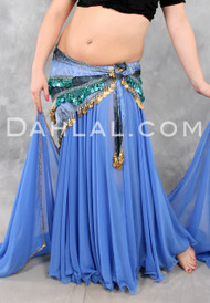 DOUBLE CHIFFON CIRCLE SKIRT WITH MATCHING BEADED VEIL, for Belly Dance