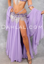 Double Chiffon Circle Skirt, with One Slit, and Matching Veil, for Belly Dance
