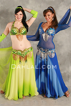 DOUBLE CHIFFON GRADIENT SKIRT WITH MATCHING VEIL, for Belly Dance image
