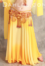 DOUBLE CHIFFON GRADIENT SKIRT II WITH MATCHING VEIL, for Belly Dance