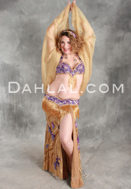 GLOWING UTOPIA in Gold with Purple in a Bra Size #5 by Pharaonics of Egypt, Egyptian Belly Dance Costume
