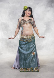 SATIN LINED VINTAGE SARI STRAIGHT SKIRT, for Belly dance