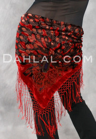 Burnout Velvet Peacock Shawl, with Crocheted Fringe, for Belly Dance