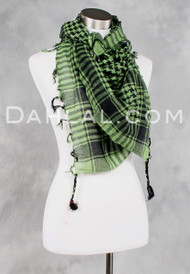 Checkered Cotton Scarf with Tassels