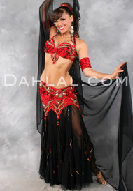 ENIGMATIC EUPHORIA in Red, Black and Gold, by Designer Pharaonics of Egypt, Egyptian Belly Dance Costume Available for Custom Order