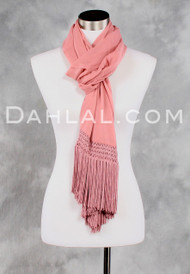 Long Fringed Double Layered Scarf of Rose Silk Chiffon