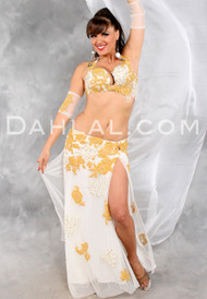 CHAMPAGNE DREAMS in Ivory and Gold by Designer Eman Zaki, Egyptian Belly Dance Costume Available for Custom Order