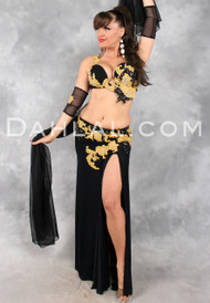 GEMINI in Black and Gold by Designer Eman Zaki, Egyptian Belly Dance Costume Available for Custom Order