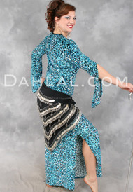 Turquoise Leopard Print Aziza Saidi Dress by Off The Nile