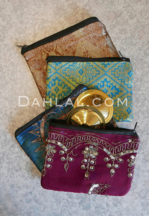 Zipper Bags for Finger Cymbals Shown with Metallic Embroidery and Brocade