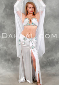 IRIDESCENT LOTUS in White, Turquoise and Silver by Eman Zaki, Egyptian Belly Dance Costume
