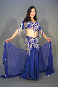 GODDESS I: MAKING WAVES in Royal Blue and Silver by  Bella, Turkish Belly Dance Costume