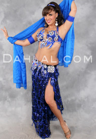 FLIRTATION in Black, Purple, Royal Blue and Multicolor by Rising Stars, Egyptian Belly Dance Costume