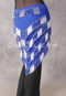 Royal Blue and Silver Multi-Row Beaded Triangular Hip Scarf