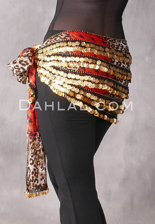 Red Animal Print Multi-Row Gold Coin Hip Scarf