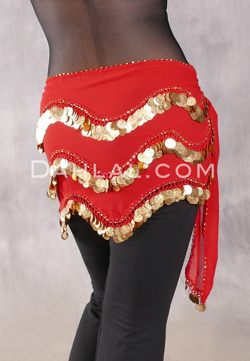 TRIPLE COIN WAVE Egyptian Hip Scarf - Red with Gold Coins