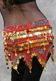 Egyptian PAILLETTE HIP WRAP #5, Belly Dance Hip Scarf