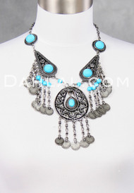 Egyptian Metal Medallion Necklace Option 1, in Silver and Turquoise