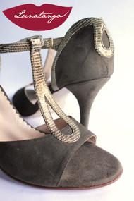 GOTA Vison Suede & Fantasy Bronze Tango Shoe in Size 38, from LUNATANGO