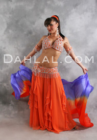 CANDIED GINGER in Orange and Silver by Designer Turkish Delights, Turkish Belly Dance Costume